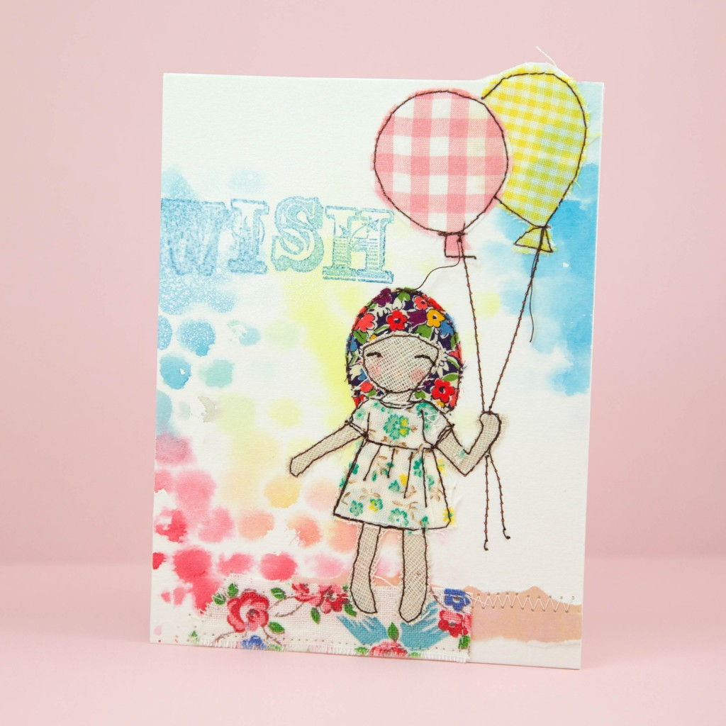 Sewing Illustration on Watercolor Tutorial by Minki's Work Table #thankyouteacher #cardmaking