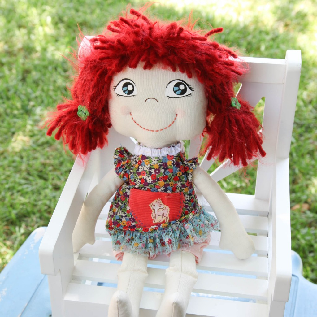 basic fabric doll with wool hair and clothes