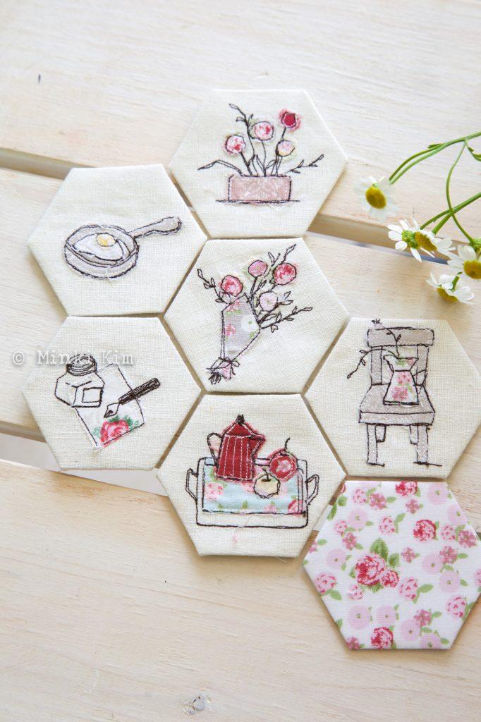 sewing illust hexies