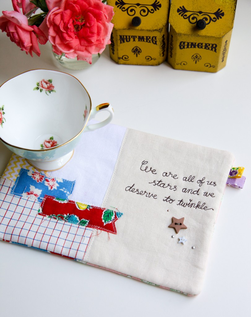 """Message on a Mug Rug"" Free Mug Rug Quilted Pattern designed & from Minki Kim"